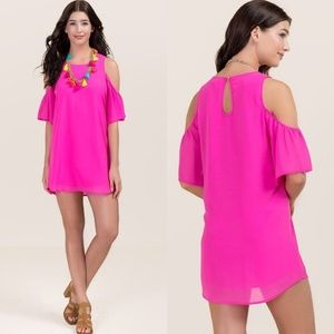 NWT neon pink cold shoulder